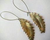 Brass Leaf Earrings, Fern Earrings on Long Hooks, Statement Earrings
