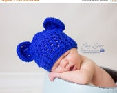 ON SALE Baby Boy Hat, Newborn Boy Hat, Royal Blue Hat, Crochet Baby Hat with Ears, Baby Hat, Bear Hat, MADE To Order, Royal Blue