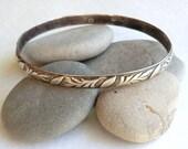 Vintage Danecraft Sterling Oval Bangle Bracelet Leaf Patterns