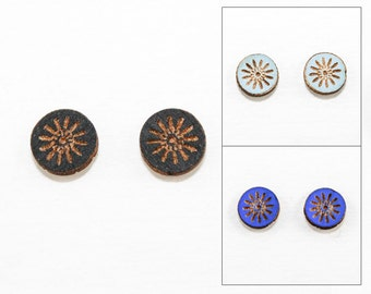Geometric Starburst Earrings - Laser Cut Wooden Studs (Choose Your Color)