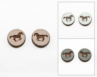 Horse Earrings - Laser Cut Wooden Studs (Choose Your Color)