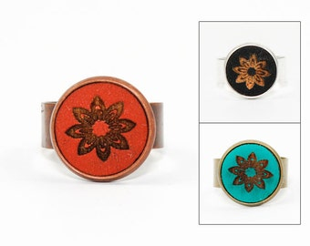 Geometric Flower Design Ring - Laser Cut Wood in Adjustable Setting (Choose Your Color / Made To Order)