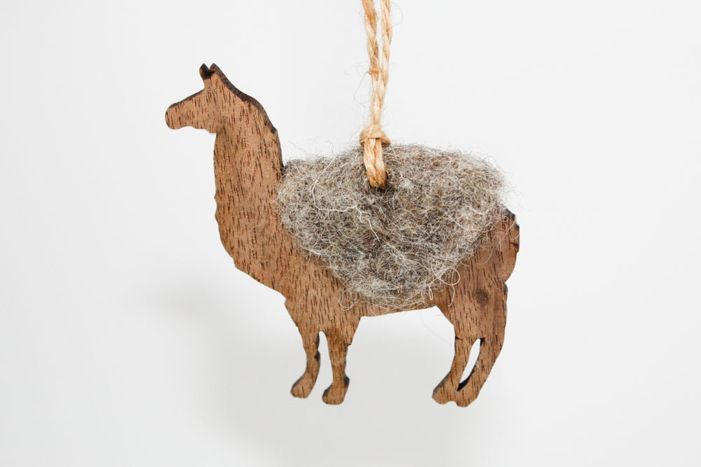 Llama Christmas Ornament Laser Cut Wood with Needle Felted