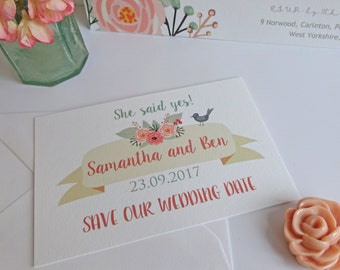 Folksy Pastel Watercolour Floral Wedding Save the Dates, wedding stationary, RSVP, table name, place card, save the date.