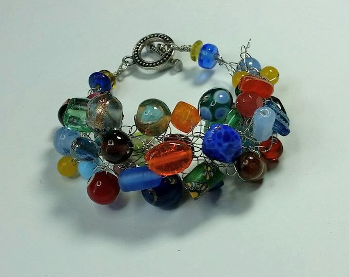 Rainbow Wire Crocheted Bracelet