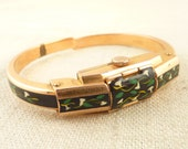 SALE --- Vintage Gold Plated Green and White Enamel Deco Style Patterned Titus Hidden Fashion Wrist Watch