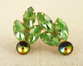 SALE --- Vintage Marquise Cut Triple Green Rhinestone Clip On Earrings with Rivoli Crystal