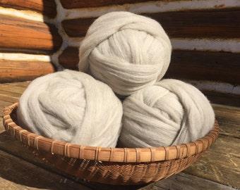 Combed Shetland Wool Top- Pale grey, four ounces