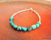 Genuine Turquoise and Sterling Silver Bracelet, Turquoise Nugget Bracelet, Handcrafted Jewelry, Sterling Silver Jewelry