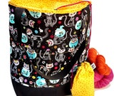 Studio Tote Extra Large Knitting Project Crochet WIP Tote Bag - Sugar Skull Kitties