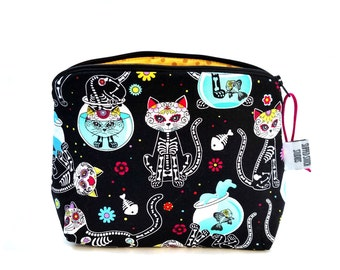 Zippered NOTIONS BAG with zipper pull -  Day Of The Dead Kitties