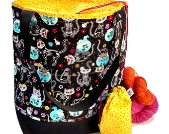 Studio Tote Extra Large Knitting Project Crochet WIP Tote Bag - Sugar Skull Kitties