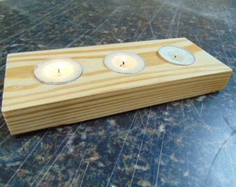 Wooden Tea Light Holder - Wood Candle Holder - Square Candle Holder - Reclaimed Wood