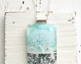 Glacier Blue - Winter Tree - Fused Glass Pendant - Fused Glass Jewelry - Dichroic Fused Glass Pendant - Necklace - Fused Dichroic Jewelry