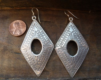 Large Hill Tribe silver earrings