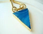 Ocean Blue Gold Plate Jasper Triangle Pendant on Vintage Golden Snake Chain Choker