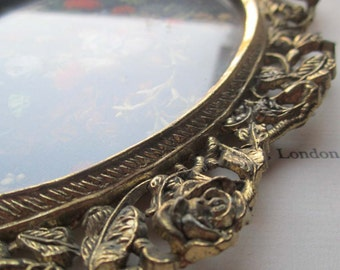 Pair Vintage Ornate Metal Frames and Prints * Italian Styled Home Decor * Oval Frames Roses and Vines *