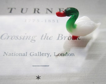 Tiny Glass Blown Duck * White and Green Glass Miniature Duck * Glass Menagerie Figurine