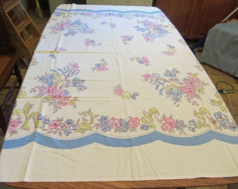 Large Linen Tablecloth 50's Vintage in Pastel Bouquet of Flowers Pattern