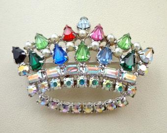 B David Brooch Pin Crown AB Pearls Rhinestones Silver Green Aurora Borealis 797
