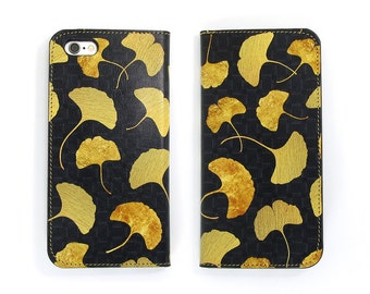 Leather iPhone 6 case, Galaxy S6 Case, iPhone 6s Case, iPhone 6s Plus Case, iPhone 5/5s Case - Golden Ginkgo (Exclusive Range)