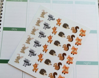 36 Woodland Animals Stickers, Fits Erin Condren Life Planner, Filofax, Kikkik, Planner Stickers , Stickers
