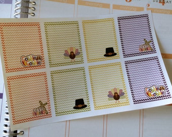 Planner Stickers Thanksgiving 8 Full Box Stickers Thanksgiving Stickers Fits Erin Condren Planner