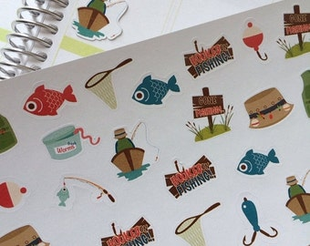 SALE Planner Stickers Gone Fishing Set Life Planner Plum Paper Planner