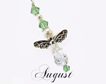 Guardian Angel Charm/Rear View Mirror Charm/Car Vent Charm/August Birthstone Charm - Angel with Swarovski Crystals & Swarovski Glass Pearls