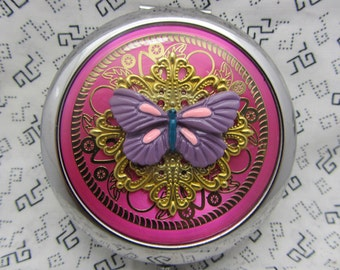 Compact Mirror Protective Pouch Included Purple Butterfly All Ocassion Gift