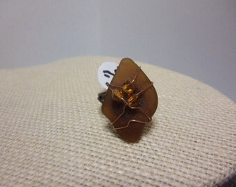 "Size 6 1/2"" Coppertone Ajdustable Ring with Wire Wrapped Seaglass Top"