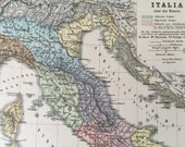 1896 German Antique Map of Italy in Roman Times - Historical Map