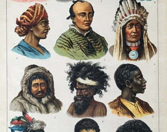 1889 Antique Chromolithograph of the Races of Mankind