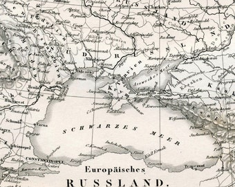 1860 German Vintage Map of European Russia - Black and White