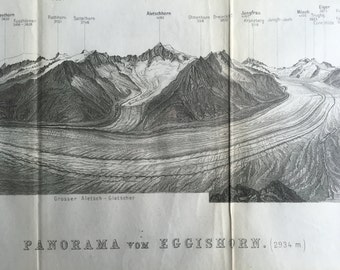 Antique Print of the Alps - Panorama from the Eggishorn, Switzerland - 1891 Vintage Print - Panoramic View