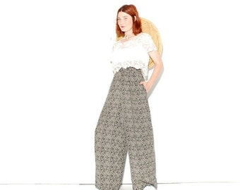 WTF HALF OFF cutest Palazzo Pants medium large // high waisted pants wide leg pants boho pants gypsy pants damask floral pants navy blue cre