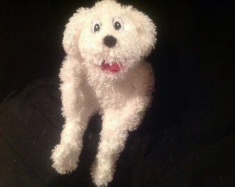 """New full size white furry DOG 24"""" standard size puppet blacklight legs pro productions ministry missions muppet creative"""