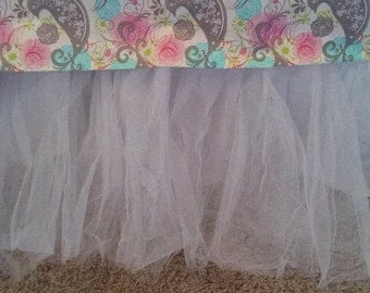 Tulle..Tutu.. Bed Skirt..Bedskirt..White..Twin or Full Size...Ready to Ship