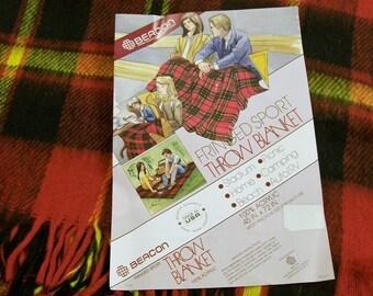 Vintage Red plaid blanket, Plaid, Stadium Blanket, Throw Blanket, Fringed Blanket, Acrylic, Plaid Throw, Lap Blanket, Cabin Blanket