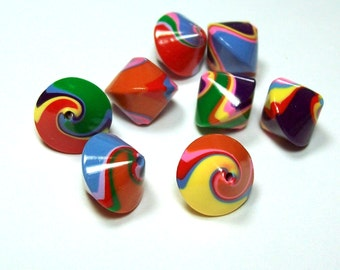Handmade Polymer Clay Bicone Beads  - Bright Bold Colors