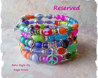 Reserved - Boho Hippie Jewelry, Colorful Beaded Bracelet, Peace and Love, Urban Gypsy, Boho Style Me, Kaye Kraus
