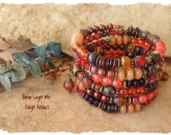 Dark Orange Gypsy Bracelet, Bohemian Layered Bracelet, Burnt Orange Blaze Sunset, Romantic Jewelry, Gift for Her, Boho Style Me, Kaye Kraus