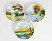 """Set of 3 Hand Painted Dishes with Outdoor Scenes 4"""" Diameter Made for Hanging"""