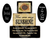 Printable 2 X 4 Block Sheet , You Are My Sunshine Sunflower , Decoupage , DIY , Chunky , Stackable , Prim , Instant Download , Farmhouse
