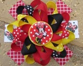 Minnie Mouse Inspired Custom Boutique 3 Layer Loopy Flower Stacked Hair Bow for Birthday Party or Disney Vacation