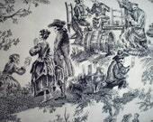 Skeleton Toile Fabric by the Yard - Alexander Henry Midnight Pastoral - Goth Sewing Supply - Black and White Pirate Cotton Fabric