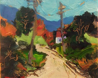Small original landscape painting on gallery wrapped canvas, Country Road with fall season, Russ Potak