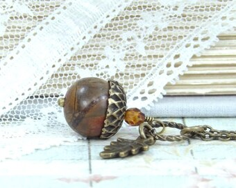 Fall Jewelry Acorn Necklace Forest Jewelry Acorn Pendant Autumn Necklace Acorn Jewelry Woodland Necklace