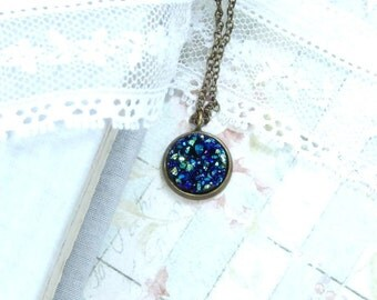 Blue Druzy Necklace Small Blue Necklace Faux Druzy Necklace Cobalt Blue Necklace Bohemian Necklace
