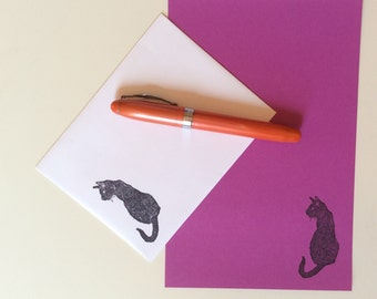 black cat stationery set - pretty great for Halloween missives - orange, green, mint, violet - awesome cats to mail to your pen pal